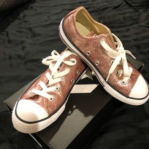 Converse girls rose gold sparkle sneakers